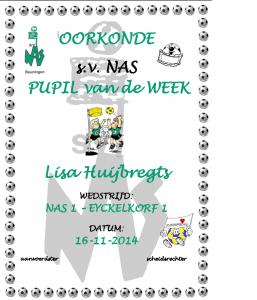 Pupil van de week - Lisa